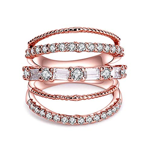 CRARINE Women Statement Promise Ring Pave Zirconia Fashion Knuckle Rings Eternity Ring Wedding Band Plated Rose Gold