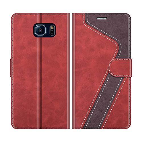 MOBESV Handyhülle für Samsung Galaxy S6 Hülle Leder, Samsung Galaxy S6 Klapphülle Handytasche Case für Samsung Galaxy S6 Handy Hüllen, Modisch Rot