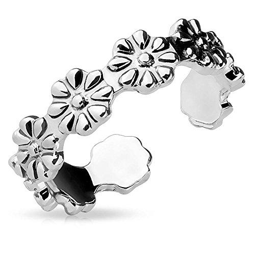 Bungsa® Blüten Zehring VERSTELLBAR silber Damen Brass (Zehring Fussschmuck Fussring Toe-Ring Nail Ring Nagelring biegbar verstellbar)