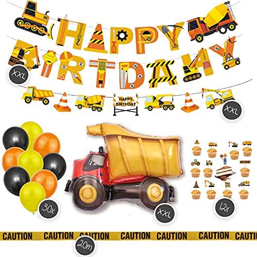 Juego XXL de decoración para cumpleaños infantiles, 46 piezas, diseño de obras de construcción, globos de aluminio XXL, globos, guirnaldas, decoración para tartas, naranja, negro, amarillo