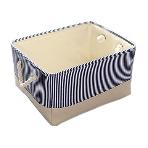 TheWarmHome Decorative Basket Rectangular Fabric Storage Bin Organizer Basket with Handles for Clothes Storage Blue Strip 138L98W67H