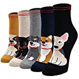 Calcetines Divertidos Mujer Calcetines Térmicos, Calcetines de Algodón Mujer Calcetines Animales Lindos, 5 Pares