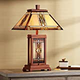 Walnut Mission Collection Rustic Table Lamp with Nightlight Wood Base Tiffany Style Stained Art Glass Shade for Living Room Bedroom Bedside Nightstand Office Family - Robert Louis Tiffany