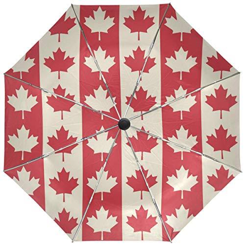 AOTISO Paraguas de Hojas de Arce de Bandera Canadiense Paraguas automático a Prueba de Viento Anti-UV Paraguas de Viaje Ligero Paraguas