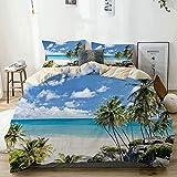 Juego de funda nórdica Beige, Summer Bottom Bay Barbados Beach Tropical Palms Ocean Holiday Paradise Coast Charm Picture Decorativo, decorativo Juego de cama de 3 piezas con 2 fundas de almohada Cuida