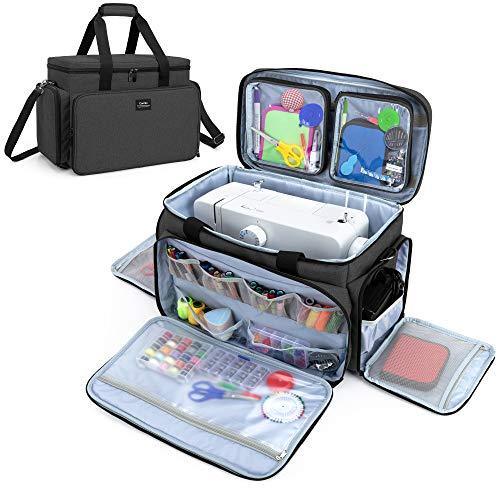 CURMIO Bolsa para Máquina Coser, Bolsa de Viaje para Máquina Coser, Maleta de Máquina Coser con 2 Bolsillos Extraíbles Transparentes, Adecuado de la mayoría de Máquina de Coser Universales, Negro.