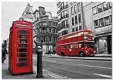 Panorama Lienzo Calles de Londres 50 x 35 cm Impreso en Lienzo Bastidor Cuadros Decoración Salón Cuadros para Dormitorio Cuadros Lienzos Decorativos Cuadros Modernos