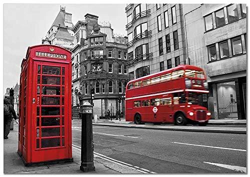 Panorama Lienzo Calles de Londres 30 x 21 cm Impreso en Lienzo Bastidor Cuadros Decoración Salón Cuadros para Dormitorio Cuadros Lienzos Decorativos Cuadros Modernos