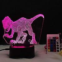 3Dナイトライト 恐竜 リモコン 寝かしつけランプ 7色変更 調光機能 男の子 女の子 クリスマス 誕生日プレゼント