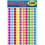 Pack of 1260 3/4' Round Color Coding Circle Dot Labels, 10 Bright Neon Colors, 8 1/2' x 11' Sheet, Fits Any Printer