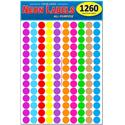 """Pack of 1260 3/4"""" Round Color Coding Circle Dot Labels, 10 Bright Neon Colors, 8 1/2"""" x 11"""" Sheet, Fits Any Printer"""