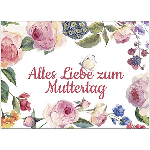 Postkarte Vintage Modern mit Schmetterling/Moderne Karte mit Umschlag/zum Muttertag/für Mama
