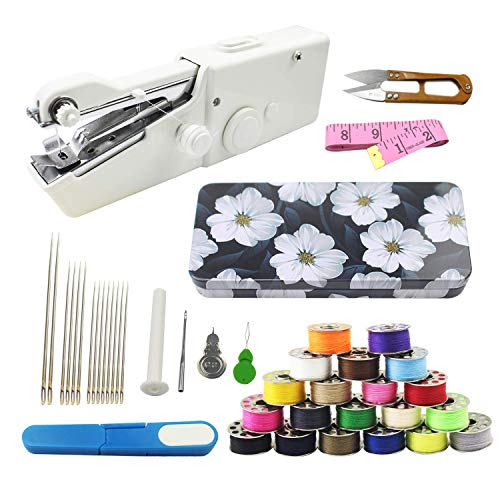 Luckkyme Handheld Sewing Machine and Sewing Thread Kit, Mini Portable Sewing Machine, 20 Pcs Sewing Threads, 16 Pcs Sewing Needles, Scissors and Measuring Tape(New)