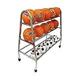 YBWEN Soporte de Baloncesto Almacenamiento de Baloncesto de Acero Inoxidable de Rack Rack Bola de los Deportes de Baloncesto de Almacenamiento Balones medicinales (Color : Plata, tamaño : 3 Tier)