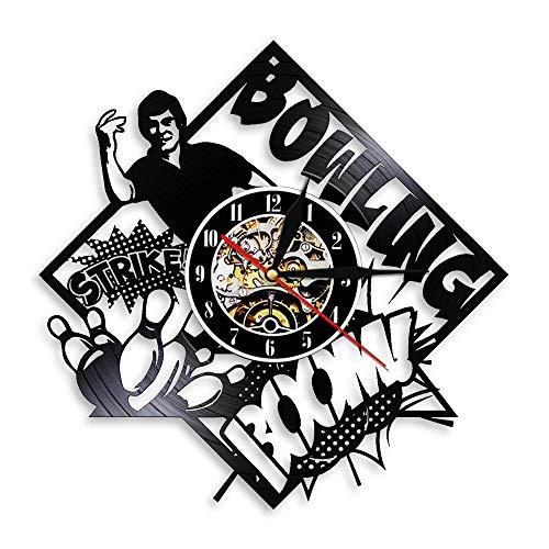 Nfjrrm Bowling Club Art Deco Reloj de Pared Disco de Vinilo Negro Reloj de Pared Bolos 3D Bola de Bolos Reloj de Pared Decoración de Pared 30x30cm