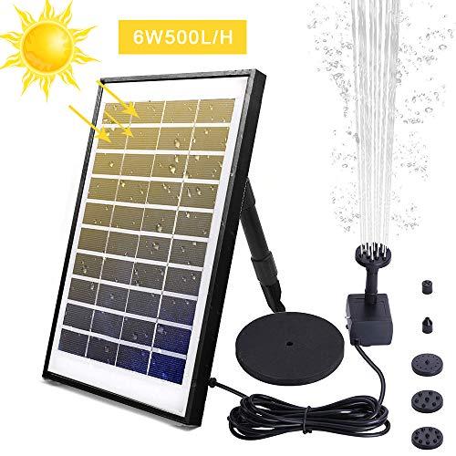FeelGlad 6W Solar Springbrunnen, Outdoor Wasserpumpe mit 6 Effekte Sprühwasser, 500L/H Gartenpumpe für Teich, Vogel-Bad, Fisch-Behälter, Kleiner Teich, Garten
