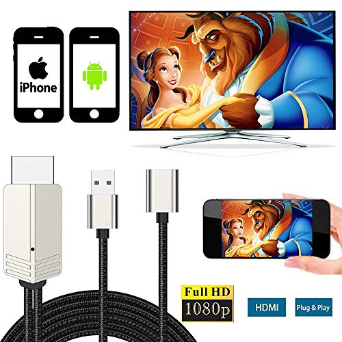 Compatible with iPhone iPad Android Phones MHL to HDMI Cable, WEILIANTE 6.6ft 1080P HD USB Type C/Micro USB to HDMI Cable for iPhone iPad Samsung Sony Moto to TV/Monitor (HDMI2020Updated)