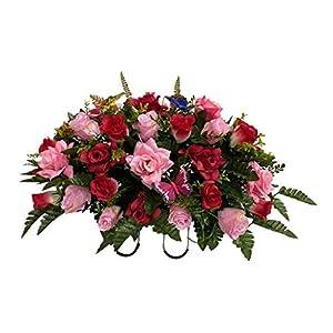 Butterflies, Roses Cemetery Flower Arrangement, Headstone Saddle, Grave, Tombstone Arrangement, Cemetery Flowers R60E