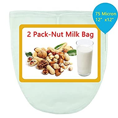 2 Pack Nut Milk Bag, 12 by 12 inches, 75 Micron Finer mesh, Food Grade Nylon Materials, Reusable And Multiple Purposes Food Strainer, Cold Brew Coffee Bag/Filter, Cheesecloth, Yogurt Juice Strainer