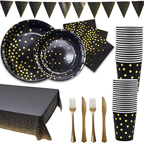 (Kupon DISKON 40%) Golden Disposable Party Dinnerware $ 13,19