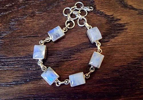 Round Moonstone Dainty Bracelet Natural Moonstone Bracelet Gift For Her Moonstone Silver Bracelet August Birthstone