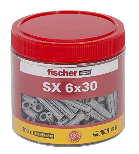 fischer SX 6 x 30 - Kraftvoller - Spreizdübel mit 4-fach-Spreizung zum Befestigen von Bewegungsmeldern, Briefkästen in Voll- und Lochbaustoffen - Dose - 200 Stück - Art.-Nr. 531030