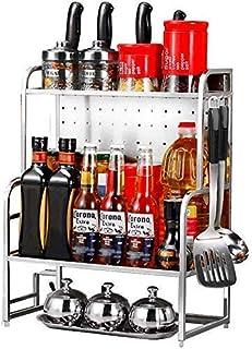Pots à épices,Une étagères de Cuisine étagère Flottante Organisateur de Rangement Salle de Bain en Acier Inoxydable Cuisin...