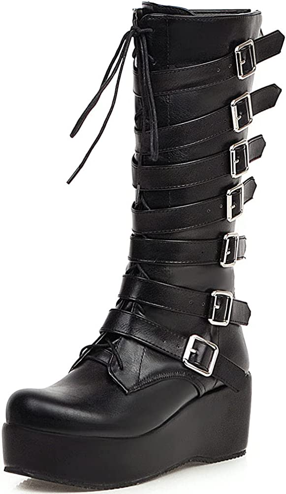 Mikarka Platform Knee High Boots for Women, Lace Up Studded Buckles with Chain Chunky Wedge Heel Combat Mid Calf Womens Boots