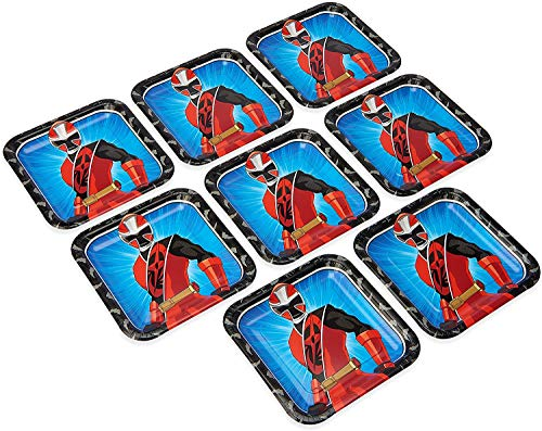 Power Rangers Ninja Steel 9' Square Paper Party Plates, 8-Pack