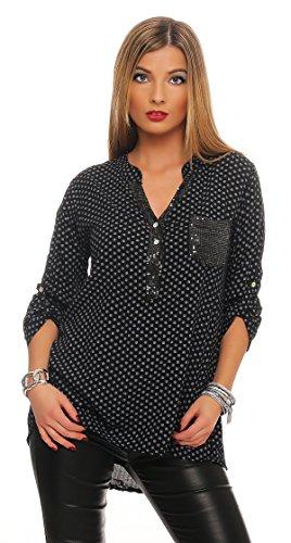 Mississhop Damen Gepunktete Bluse Hemd mit Muster Langarm Shirt Top Longshirt mit Glitzer Pailletten Details, Schwarz, Einheitsgröße