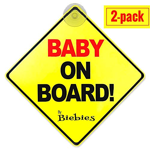 Biebie's Baby on Board Suction Cup Sticker Decal for Cars – Bold \& Visible – Portable \& Removable – Weather Resistant – Alert Other Drivers You Have a Baby in the Car (2 Pack)