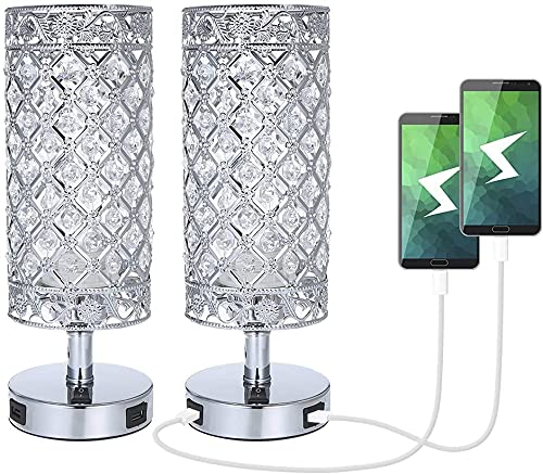 Tomshine Crystal Bedside Table Lamp with 2 USB Charging Port,Pairs of Modern Sliver Nightstand Desk Lamp for Bedroom Lounge Guest Room,2 Pack