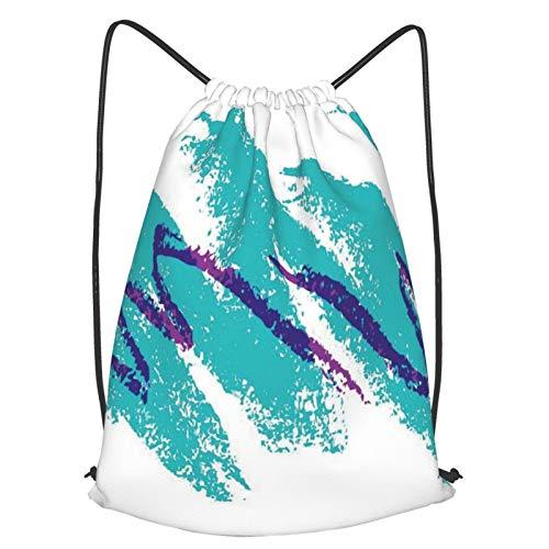 Olverz Mochila con cordón de los años 90 Jazz impermeable bolsa de gimnasio grande cadena mochila plegable Cinch Bag Sackpack para senderismo al aire libre camping playa M