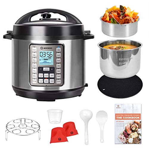 MOOSOO 9-in-1 Electric Pressure Cooker with LCD, 6 QT Instant Programmable Pressure Pot