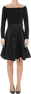 RALPH LAUREN Womens Black Belted Off The Shoulder Long Sleeve Off Shoulder Knee Length Fit + Flare Party Dress US Size: 18
