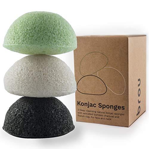 Brou | Eponge Faciale Konjac Premium | 3 Pack | Bio | Biodégradable | Ecologique | Sans Plastique | Sans Plastique | Ecologique