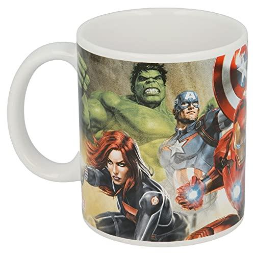 Taza de Los Vengadores de Cerámica para Niños en Caja de Regalo (Thor Hulk Iron Man Marvel Superheroi)