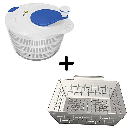 Salad Spinner Large Bowl Set + Vegetable Grill Basket - DISHWASHER SAFE STAINLESS STEEL - Non Stick BBQ Grid Pan For Veggies Meat Fish Or Shrimp - Best Barbecue Wok Topper Accessories Gift for Dad