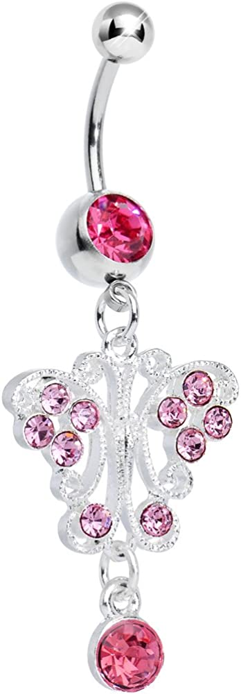 Body Candy Limited Special Price Pink Elegant Symmetry Belly Ring Butterfly Ranking TOP15 Dangle