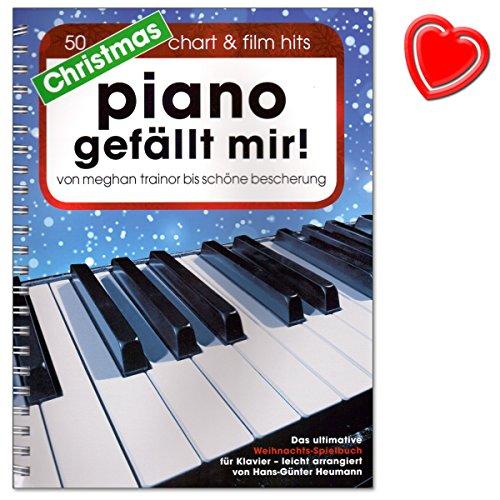 Christmas Piano bevalt mij - 50 chart en film hits - ultieme kerstspeelboek voor piano in spiraalbinding - gearrangeerd door Hans-Günter Heumann - met kleurrijke hartvormige muziekklem