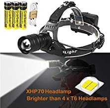 Garberiel XHP70 Super Bright 6000 Lumens LED Headlamp USB Rechargeable Headlamp Headlight Flashlight Zoomable Light with 3 x Battery and USB Cable