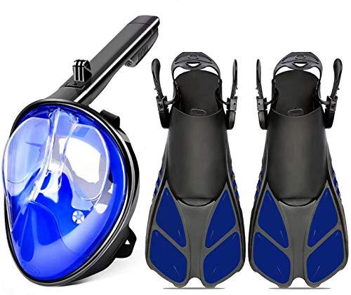 Schnorchelmaske Vollmaskengesicht 180 ° Panorama Faltschutz Anti-Fog One Piece Blaue Schnorchel Tauchmaske Gebogene Oberfläche + Schnorchel Tauchflossen Schnorchel Set für erwachsene Jugendliche