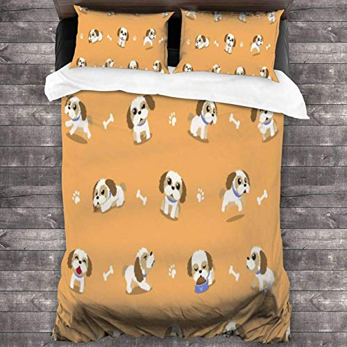 Maja Shop Shih Tzu Puppies Unisex 3-Piece Bedding Set 86'X70' with Zipper Closure Super Soft Microfiber Comforter Cover with Pillowcase for Bedroom Guest Room and Hotel