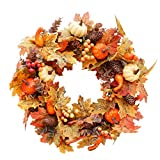 HooAMI Artificial Fall Wreath, 20 inch Front Door Wreath, Christmas Wreath with Pumpkin Maple Leaves and Red Berry Ideal for Autumn & Halloween & Thanksgiving Day, Indoor Outdoor Decor