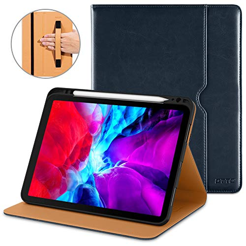 DTTO Case for New iPad Pro 12.9 Inch 4th Generation 2020/2018, Premium PU Leather Folio Stand Cover [Apple Pencil Pair and Charge Supported] - Auto Wake/Sleep and Multiple Viewing Angles, Blue