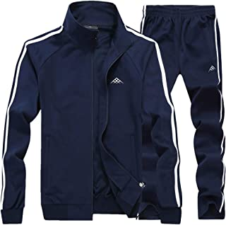 Men's Athletic Full-Zip Jogger Sweat Suit Sports Sets Casual Tracksuit