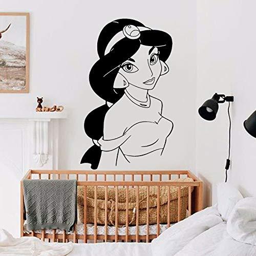 HNXDP Prinzessin Wandaufkleber Aladdin Lampe Cartoon Kunst Wohnkultur Kinderzimmer Mädchen Schlafzimmer Kinderzimmer Vinyl Wandtattoos Wandbild A585 42x68cm