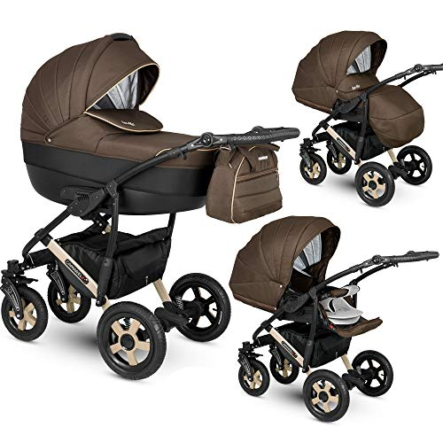 Kinderwagen Pram Pushchair 2in1 3in1 Isofix Luiertas VIA door ChillyKids 3in1 with baby seat Chocolate LUX-07