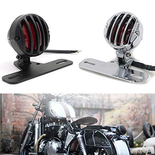 Motorrad 12V Rückleuchten Rücklicht Bremslicht Kennzeichenbeleuchtung Universal Für Harley Davidson Honda Suzuki Yamaha (Chrom)