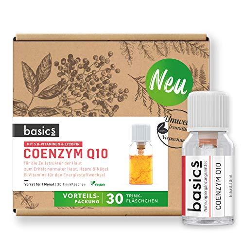 basics Coenzym Q10 Komplex Monatskur - 30 x 10ml Fläschchen - Vegan, Hochdosiertes Q10, Lycopin, Biotin und Zink für den Erhalt von schöner Haut, Haar & Nägeln - Hergestellt in Deutschland